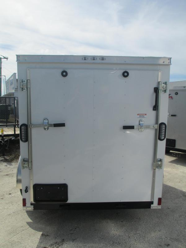 NEW 5x8 SA Enclosed Trailer V-nose side AND ramp door WHITE