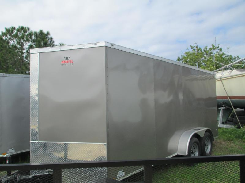 NEW 7 x 16 TA Enclosed Trailer V-nose * Ramp and Side Doors * PEWTER color