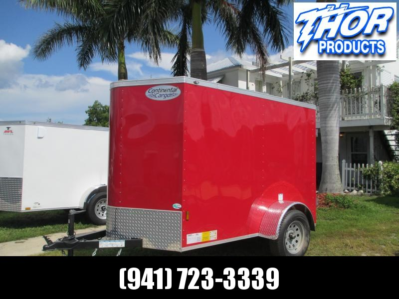 NEW 5X8 V-nose Trailer with Side Door Double Rear doors .030 RED