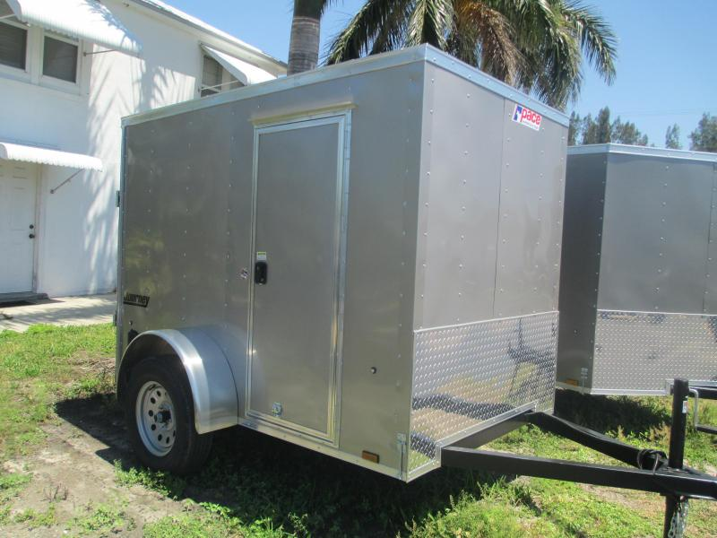 Pace American 5 x 8 SA Enclosed Trailer w/side door and Ramp Pewter