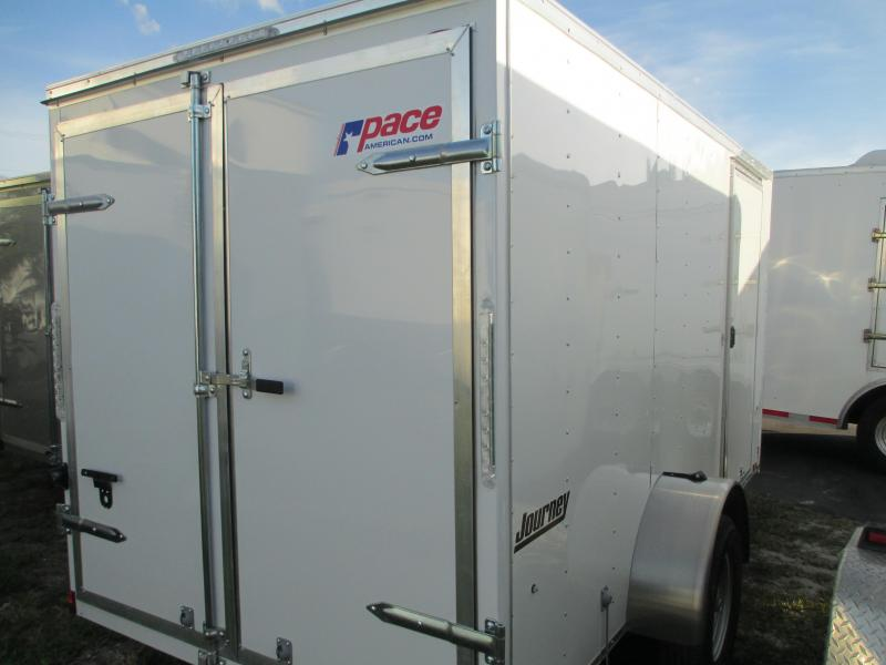 NEW 6X10 Pace Trailer white w/side door and DOUBLE Rear doors