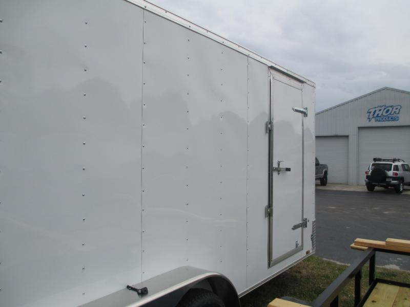 """Pace 7 x 16 TA Trailer V-nose White Ramp w/6"""" extra height and roof vent"""