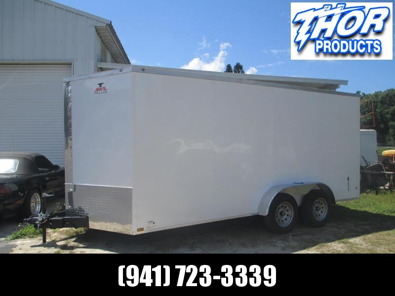 NEW 7 x 16 TA Enclosed Trailer V-nose White w/DOUBLE REAR DOORS!! IN STOCK!!