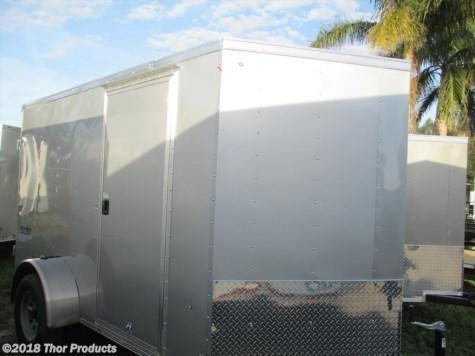 Pace 6 x 12 SA Trailer Silver Double Rear Doors Radial Tires 1 piece roof