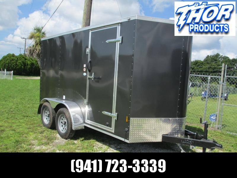 NEW 6x12 TA Enclosed Trailer .030 Charcoal w/Ramp and Side door