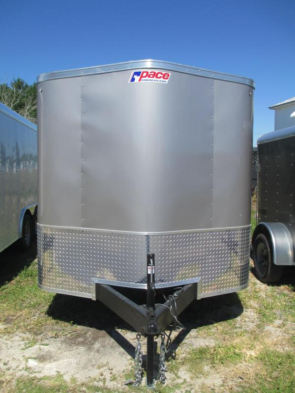 """2019 Pace 7X12 SA Trailer Champagne w/Ramp Radial Tires 1 piece BRAKES AND 6"""" FRAME!"""