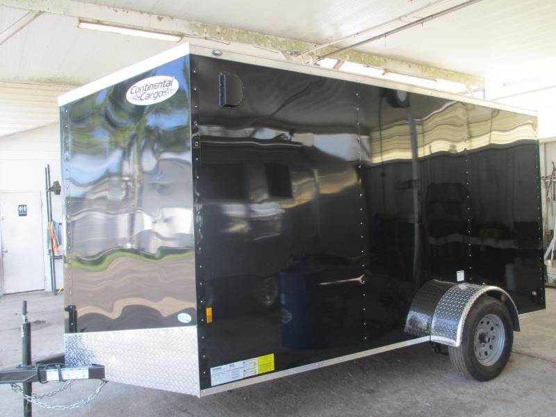 NEW 6X12 WEDGE NOSE BLACK TRAILER W/SIDE DOOR  AND REAR RAMP