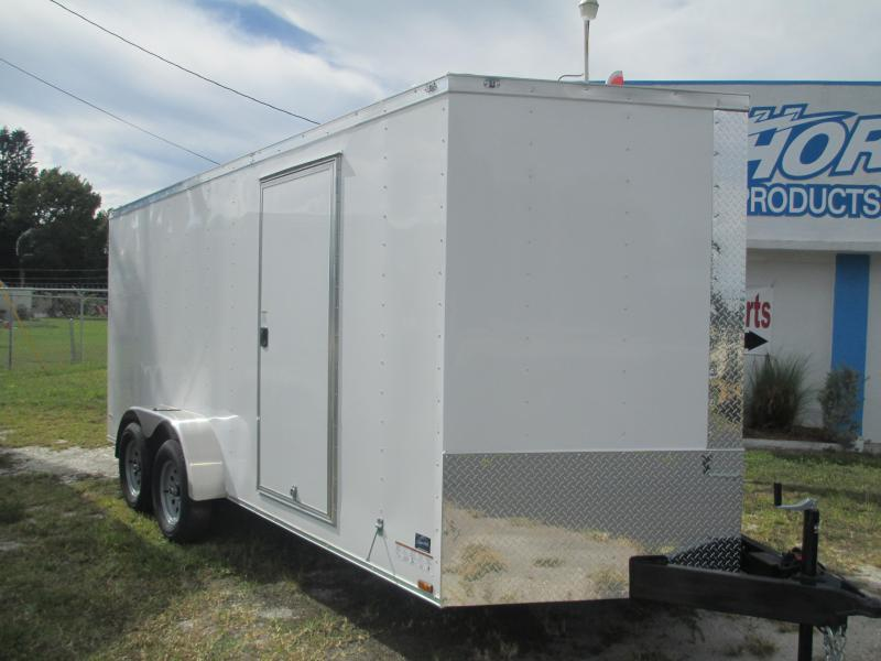NEW 7 x 16 TA Enclosed Trailer V-nose White w/Ramp Door IN STOCK!!