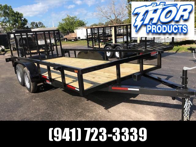 NEW 7X16 TA UTILITY TRAILER * 2 BRAKE AXLES * TUBE TOP * LED LIGHTS