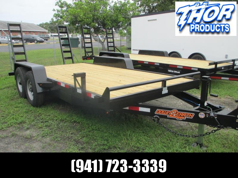 "Down 2 Earth 6'10"" x 16' TA Equipment Trailer 14K ADJ Coupler  7K Jack"