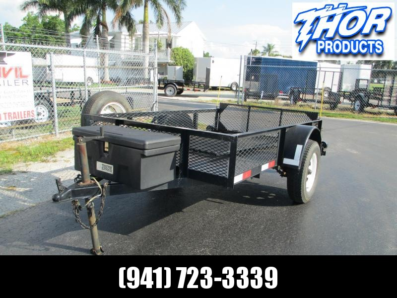 USED 2004 5X8 Utility Trailer w/2 ramps spare steel floor mesh sides tie downs