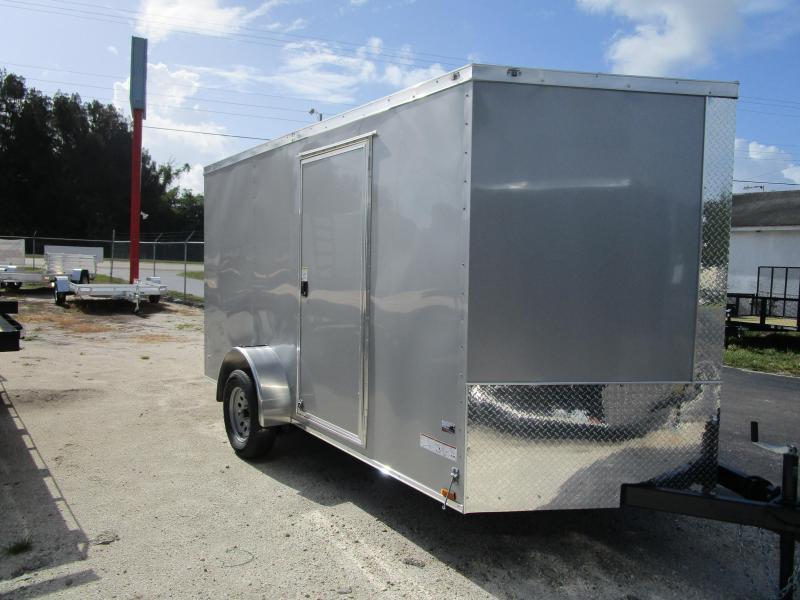NEW 7X12 SA CARGO TRAILER W/RAMP SILVER