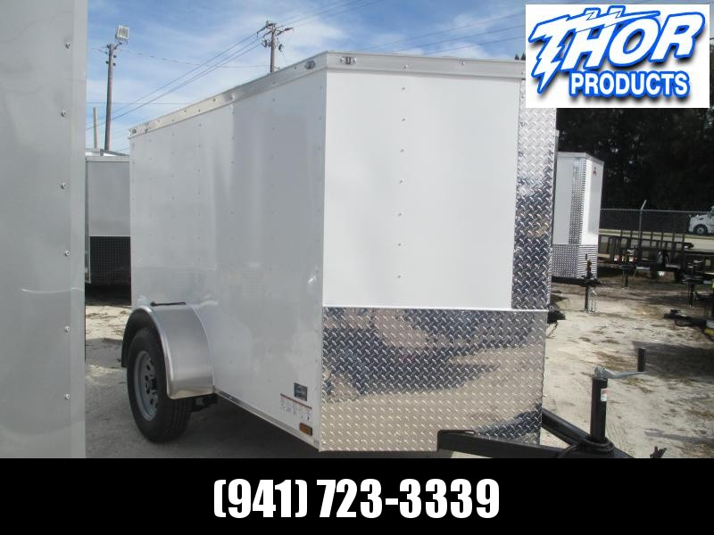 NEW 5x8 V Cargo Trailer White Ramp door and Side Door