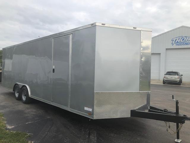"8.5 X 24 V-nose 10K Car / Racing Trailer Silver w/60"" tongue and Ramp"