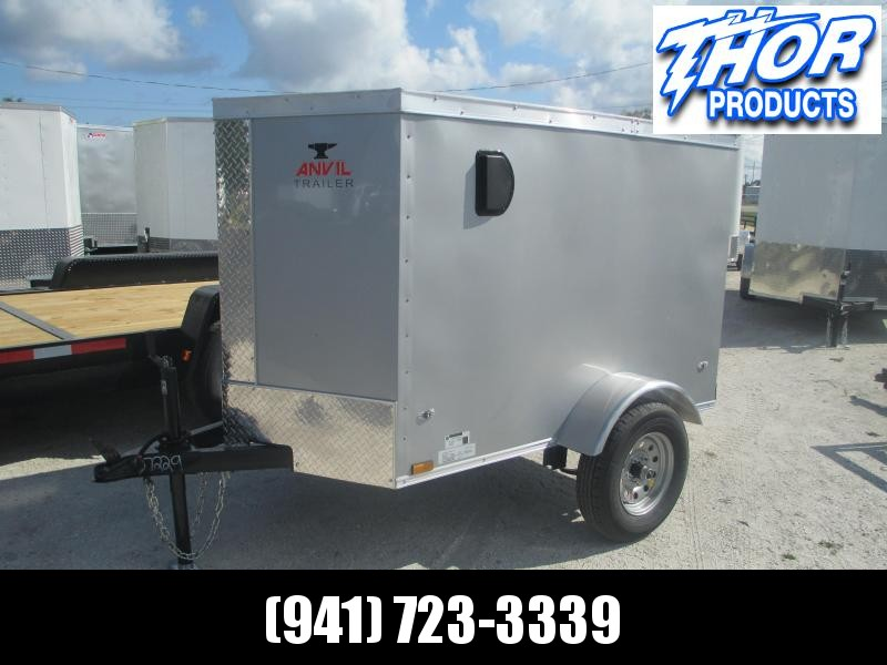 NEW 4X6 SA Trailer V-NOSE SILVER W/SIDEWALL VENTS * SWING DOOR RADIAL TIRES