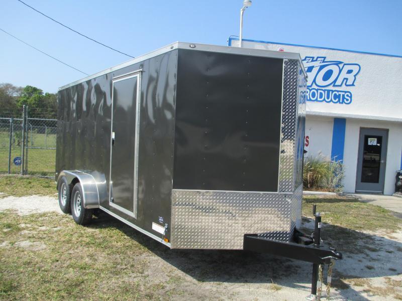 NEW 7 x 14 TA Enclosed Trailer V-nose CHARCOAL Ramp 7' INTERIOR HEIGHT!! UTV GOLF CART HAULER