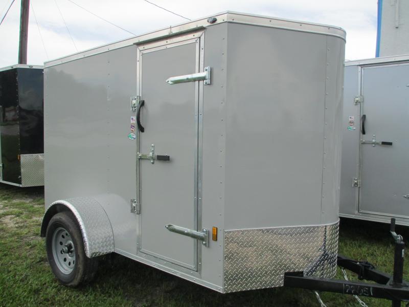 NEW 5X8 V-nose Trailer with Side Door Ramp door .030 DOVE GRAY
