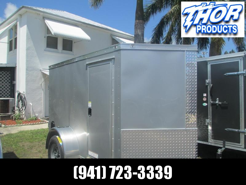 NEW 5x8 V-nose Enclosed Trailer  w/Side Door  Ramp Silver