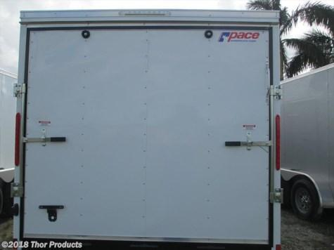 Pace 7 x 16 TA Trailer V-nose White Ramp