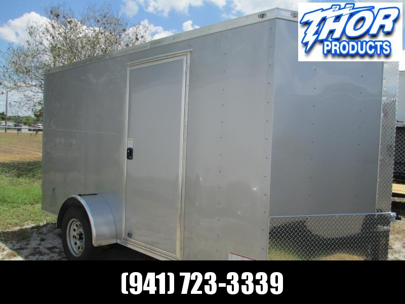 6 x 12 SA Trailer w/Ramp door side door RADIALS - SILVER