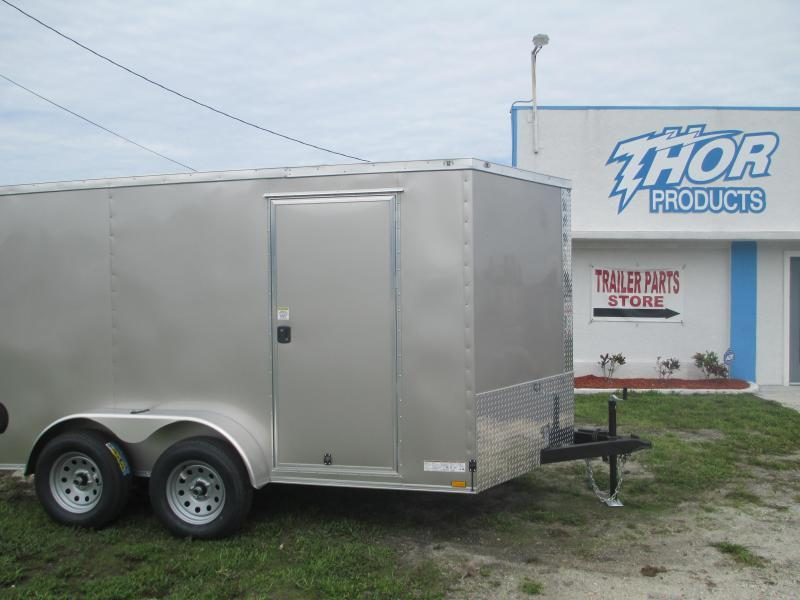 NEW 7X12 V-nose TA Enclosed Trailer Ramp Silver