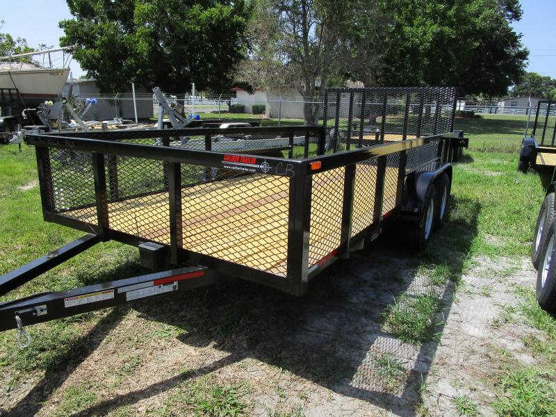 NEW 7X16 TA UTILITY TRAILER * BRAKES  * TUBE TOP * 2' MESH SIDES RAMP
