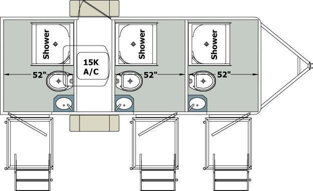 103C LuxuryLav Narrow Body III Combo Shower / Restroom Trailer