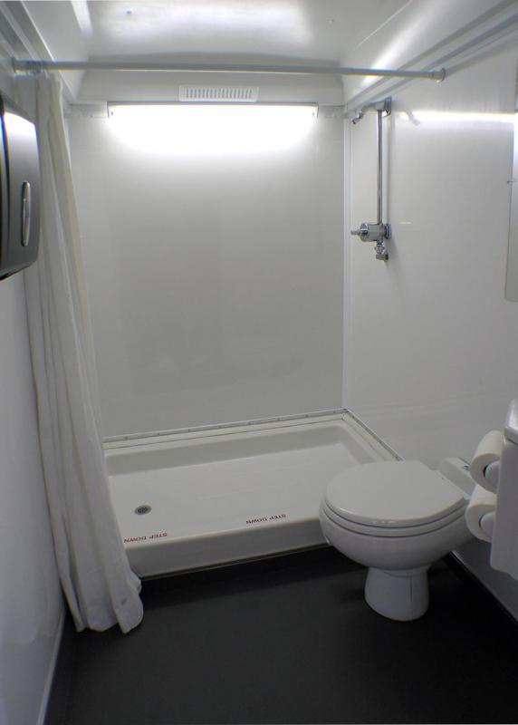 102D LuxuryLav Narrow Body 2 Stall Shower Combo Restroom Combo Trailer