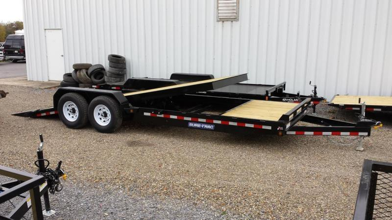 2019 Sure-Trac 7x18+4 partial tilt equipment trailer -14k -LED in Plainfield, NH