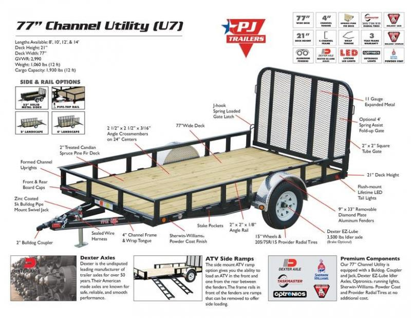 "PJ U7 12' x 77"" Utility Trailer Lanscape ATV"