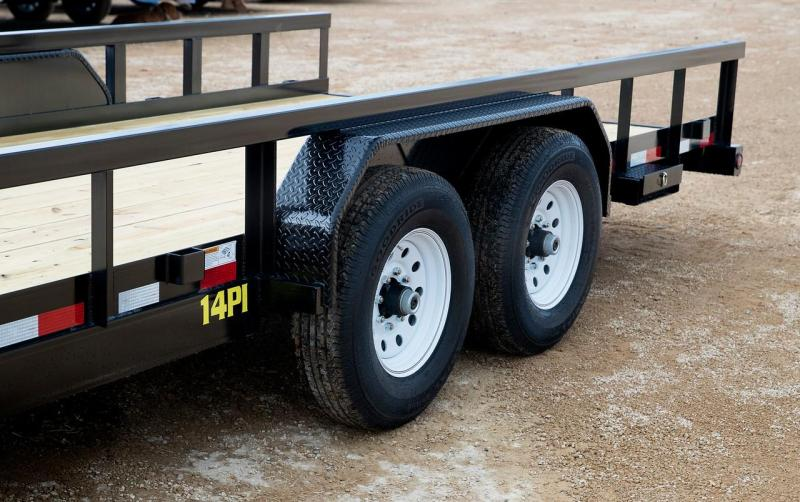 14PI 20' Big Tex Utility Trailer Equipment Trailer with 4' Heavy Duty Integrated Ramp with spring assist