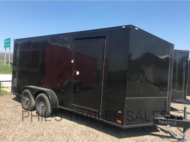 7x16 + slant V Black OUT  Screwless Enclosed Cargo Trailer