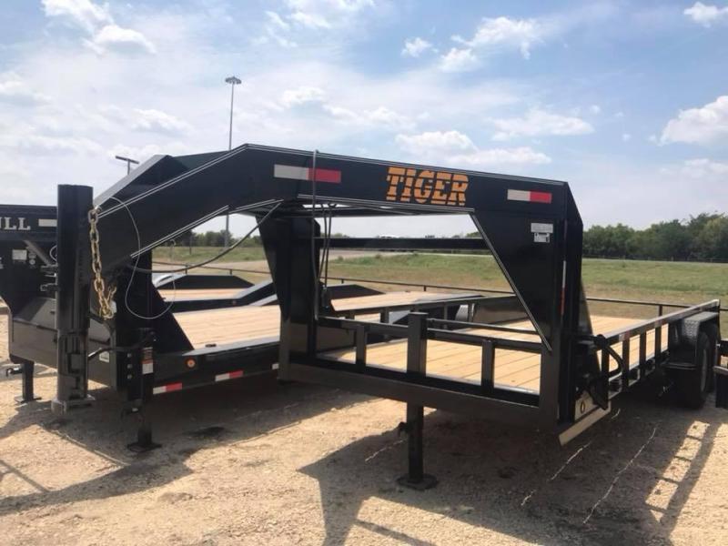 2019 Tiger 24 GOOSENECK LOWBOY TRAILER UPGRADED 3 TUBE Equipment Trailer
