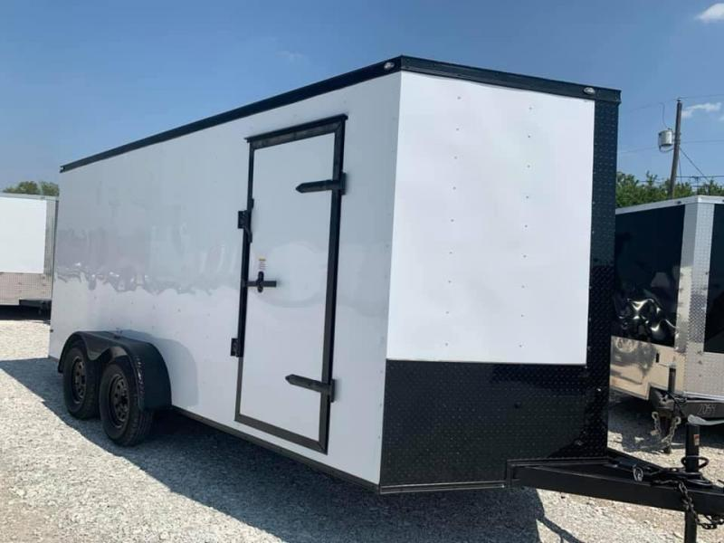 "ENCLOSED TRAILER 7x16 2 v nose 6'6"" interior WHITE   BLACKOUT Enclosed Cargo Trailer"