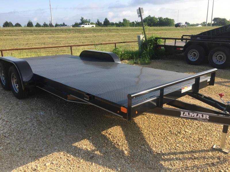 Lamar Trailers Car hauler 83x18 Steel Floor POWDER COATED Equipment Trailer