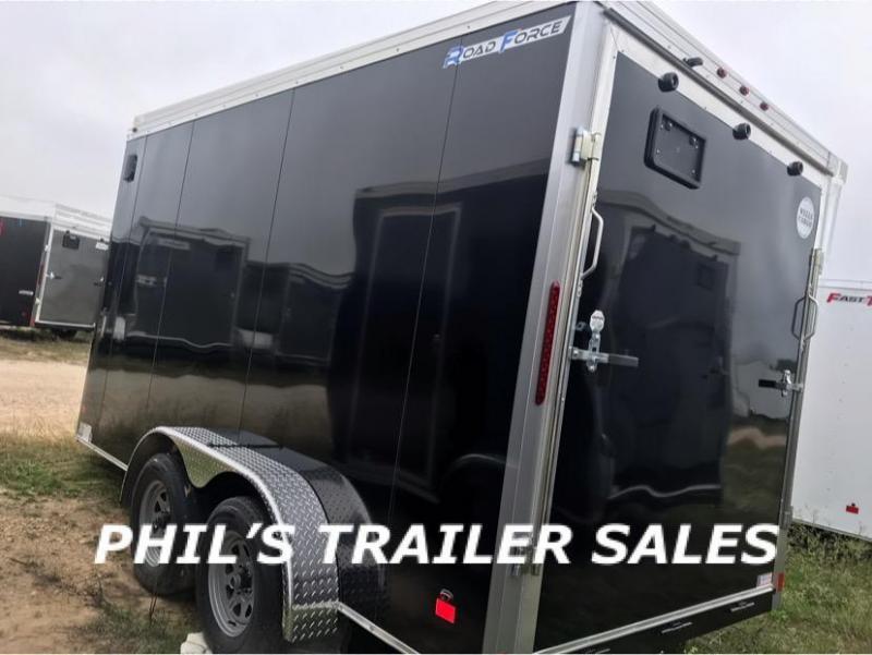 2019 Wells Cargo BLACK 7X14 + V 7 FT interior COMMERCIAL GRADE ROAD FORCE Enclosed Cargo Trailer