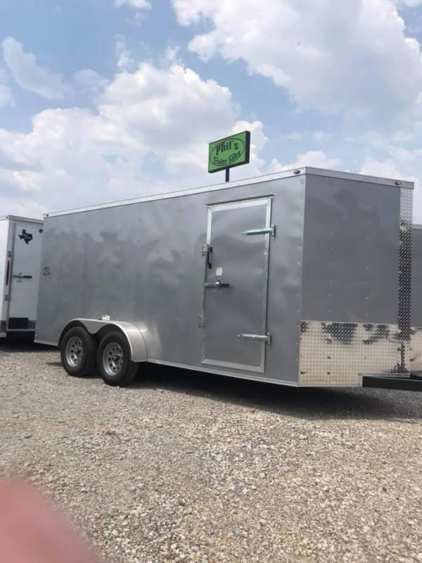 "SILVER  Texas Select 7x16 2 v nose 6'6"" interior Enclosed Cargo Trailer"