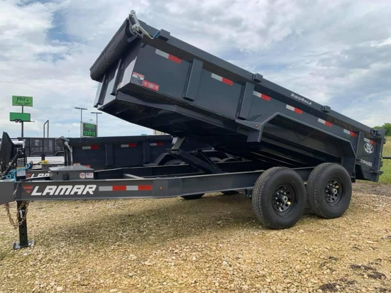 LARMAR DUMP Charcoal 83x14 DUMP TRAILER POWDER COATED WITH TARP AND RAMP