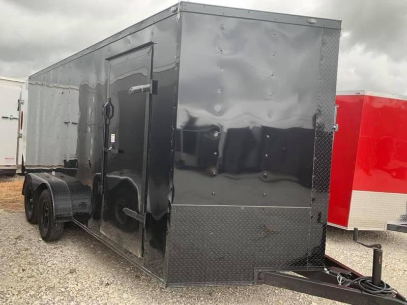 "ENCLOSED TRAILER 7x16 2 v nose 6'6"" interior CHARCOAL   BLACKOUT Enclosed Cargo Trailer"