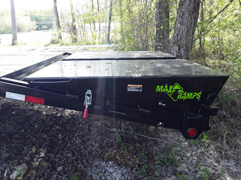 "2019 Load Trail 102""X 40' 25900 lb GVW Flatbed Trailer W Sliding Ratchet Strap Rails and Max Ramps"