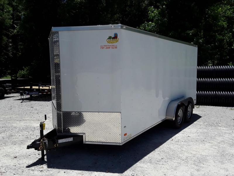 2018 Covered Wagon Trailers 7x16 White Enclosed Cargo Trailer