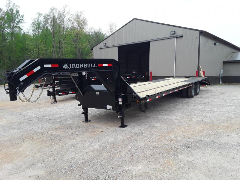 "2019 Iron Bull 102"" X 32' Flatbed Trailer W 2 10 K Axles and Max Ramps"