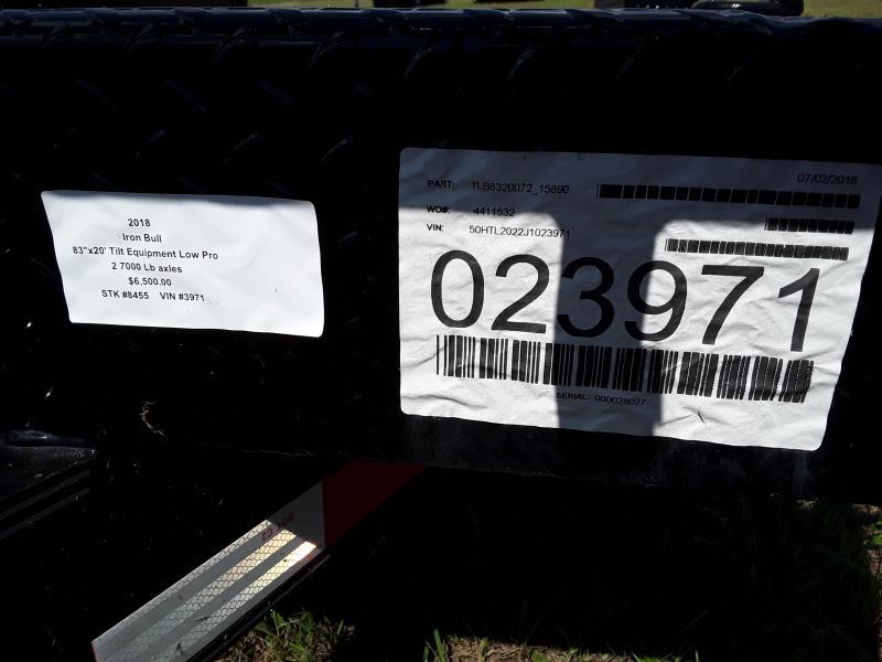 """2018 Iron Bull 83"""" X 20 'Tilt Equipment Low Pro"""