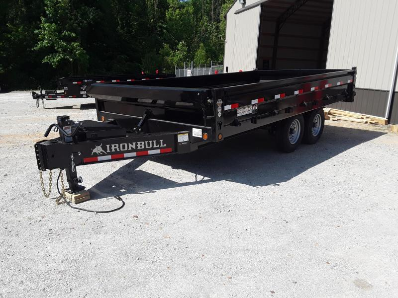 "2019 Iron Bull Deck Over Dump  96"" X 16' W/ Fold Down sides & 2-7K AXLES"