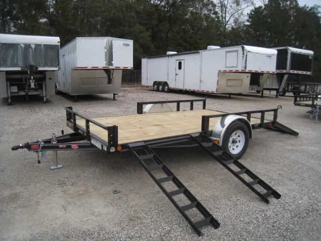 2019 PJ Trailers U8 83 x 12 Utility Trailer with Rear Gate and ATV Ramps