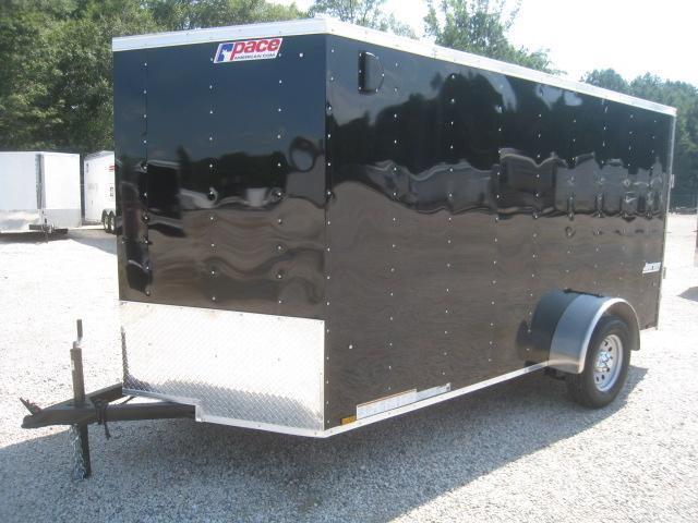 2019 Pace American Journey 6x12 Vnose Enclosed Cargo Trailer in Black with Ramp Door