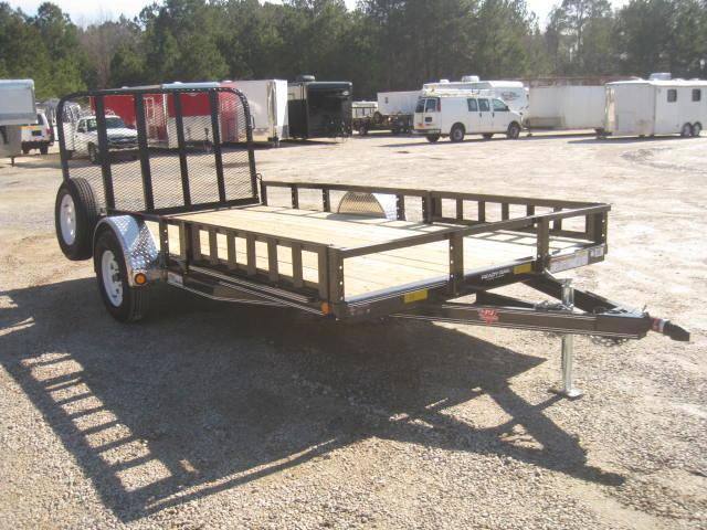 "2018 PJ Trailers U8 83""X14' Utility Trailer with Rear Gate and ATV ramps"