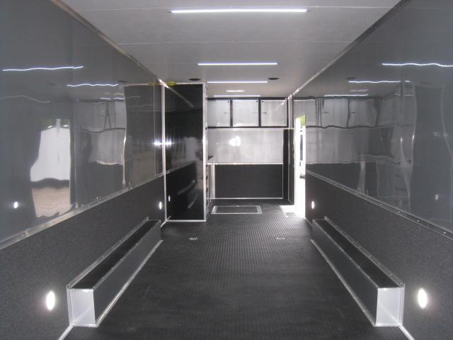 2019 Cargo Mate Aluminum Eliminator 34 Car / Racing Trailer in Black Loaded
