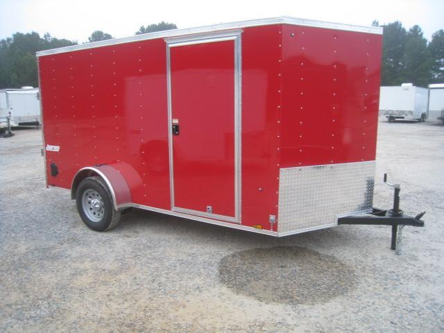 2019 Pace American Journey 6x12 Vnose Enclosed Cargo Trailer in Red in Pinebluff, NC