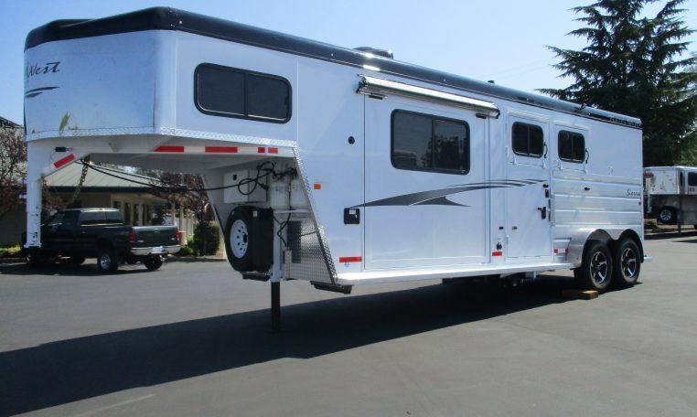 2018 Trails West Sierra 2H Living Quarter 8 x 13 Slide Out Horse Trailer